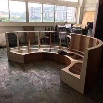 circular wooden frame of sofa