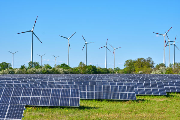 wind turbines and solar panels used for renewable energy